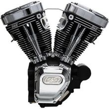 S&S Cycles T124HC Series Long-Block Engine- Wrinkle Black/Chrome