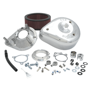 S&S® Teardrop Aircleaner Kit for 2008-'17 HD® Twin Cam®, 103™, 110™ Tri-Glide and CVO® Stock-Bore Throttle By Wire Models - Chrome