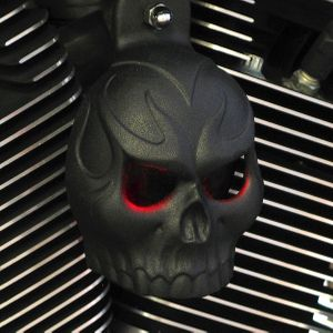 Textured Black Evil Twin Skull Cover with LED