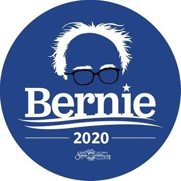 Bernie 2020 Blue Hair & Glasses Button