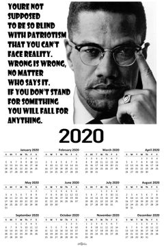 Malcolm X Quote 2020 Wall Calendar