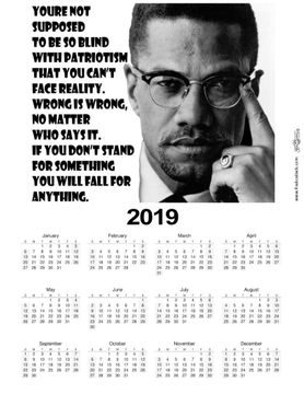 Malcolm X Quote 2019 Wall Calendar