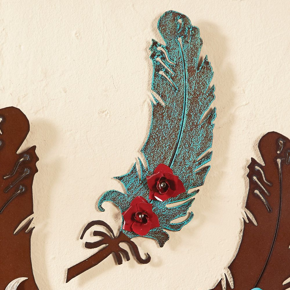 11 Inch Turquoise Metal Art Feather with Red Roses