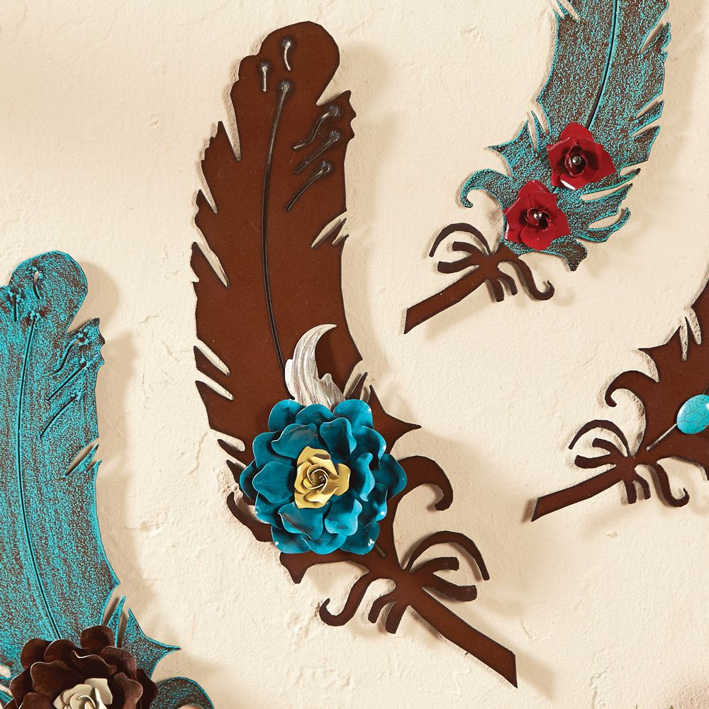 12 Inch Rust Metal Art Feather with Turquoise Rose