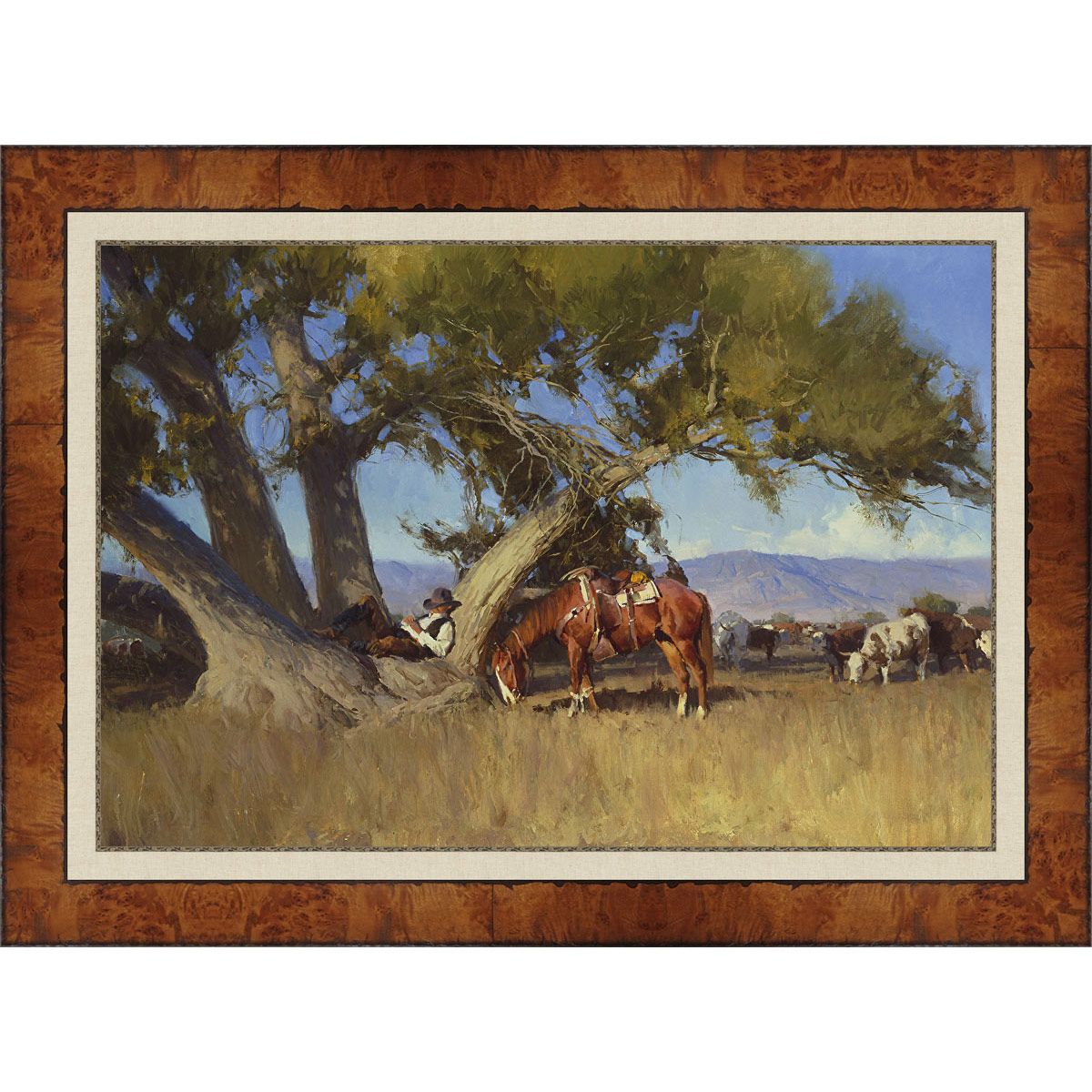 A Nap in the Cottonwood Tree Framed Canvas