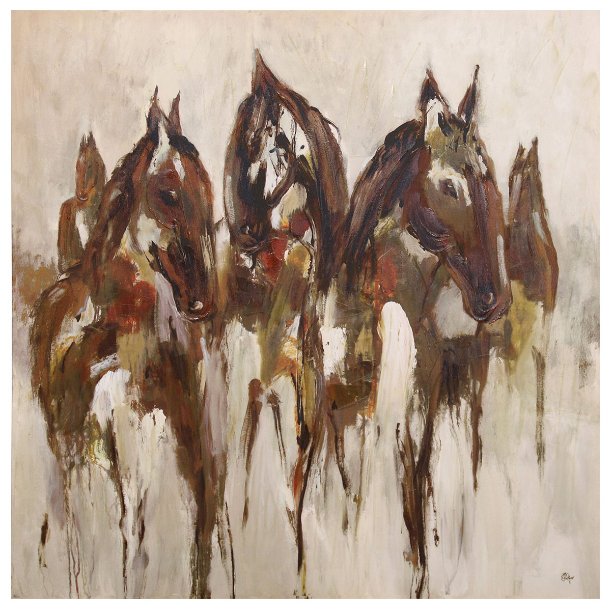 Abstract Horse Busts Canvas Wall Art