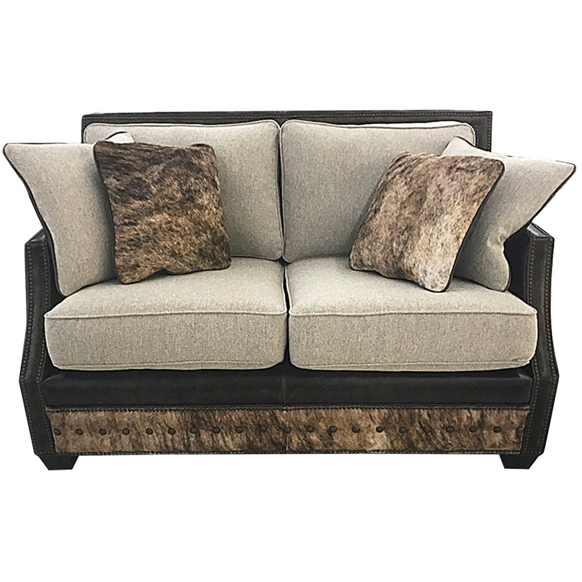 Adrian Contemporary Western Cowhide Love Seat