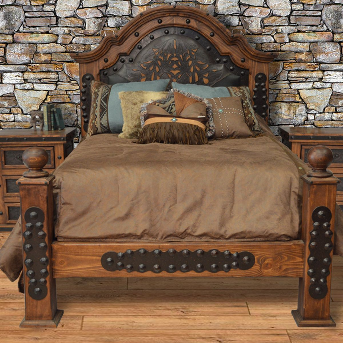 Alamo Tooled Leather Bed - Queen