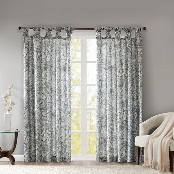 Alexandra Twist Tab Paisley Printed Window Panel - Gray
