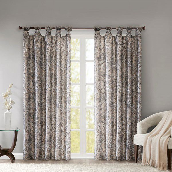 Alexandra Twist Tab Paisley Printed Window Panel - Taupe