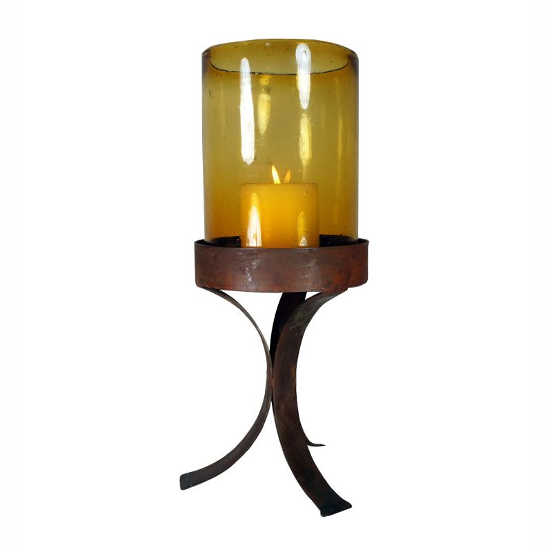 Amber Glass Cylinder on Simple Iron Base - Large