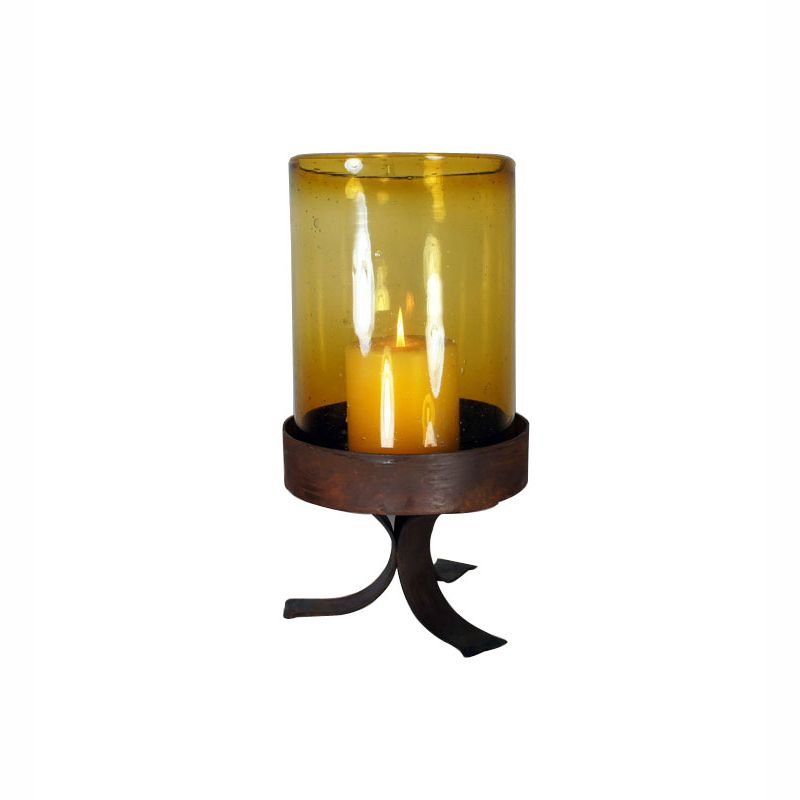 Amber Glass Cylinder on Simple Iron Base - Small