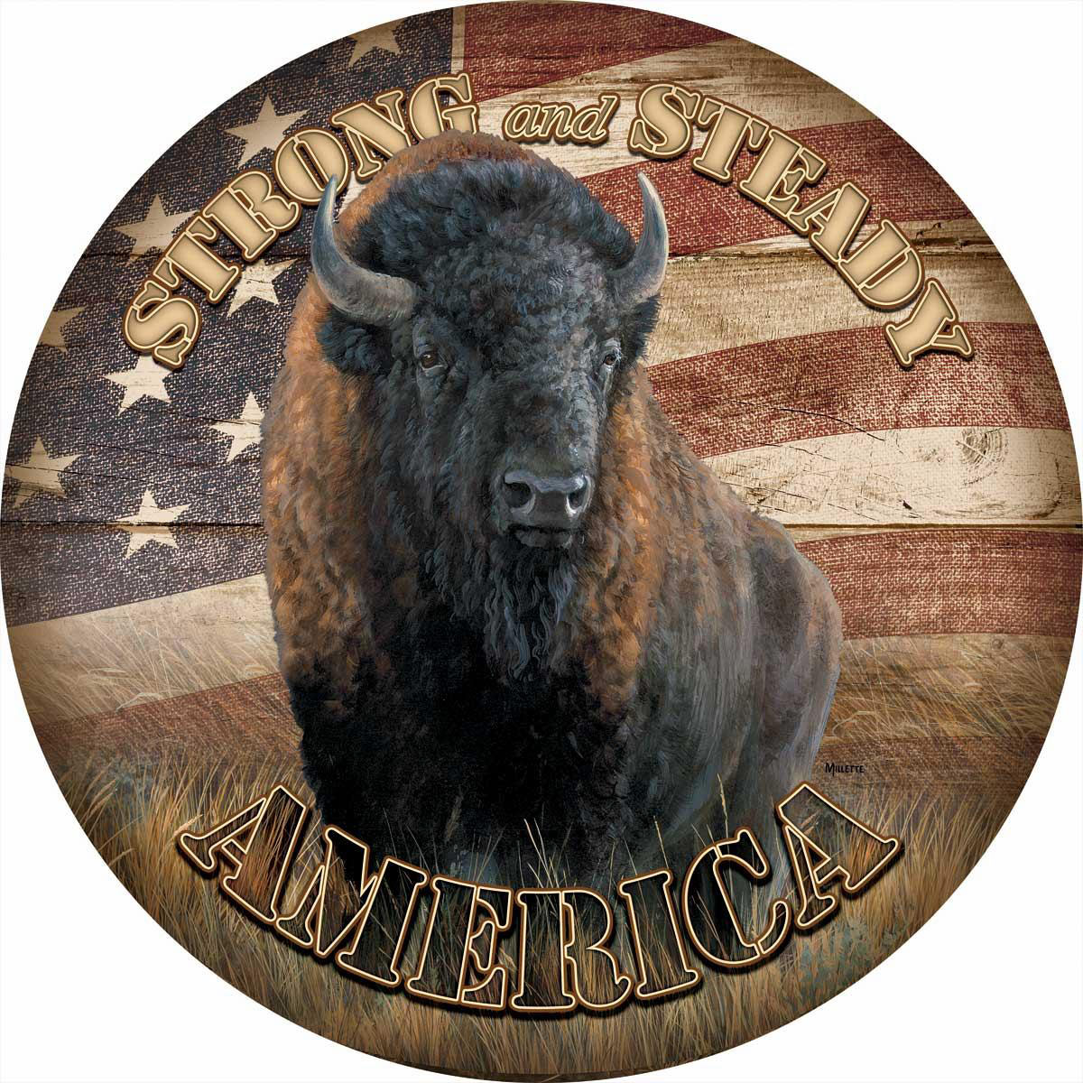 American Buffalo Round Wood Sign
