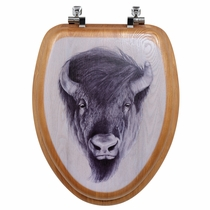 American Wilderness Bison Wood Toilet Seat - Elongated