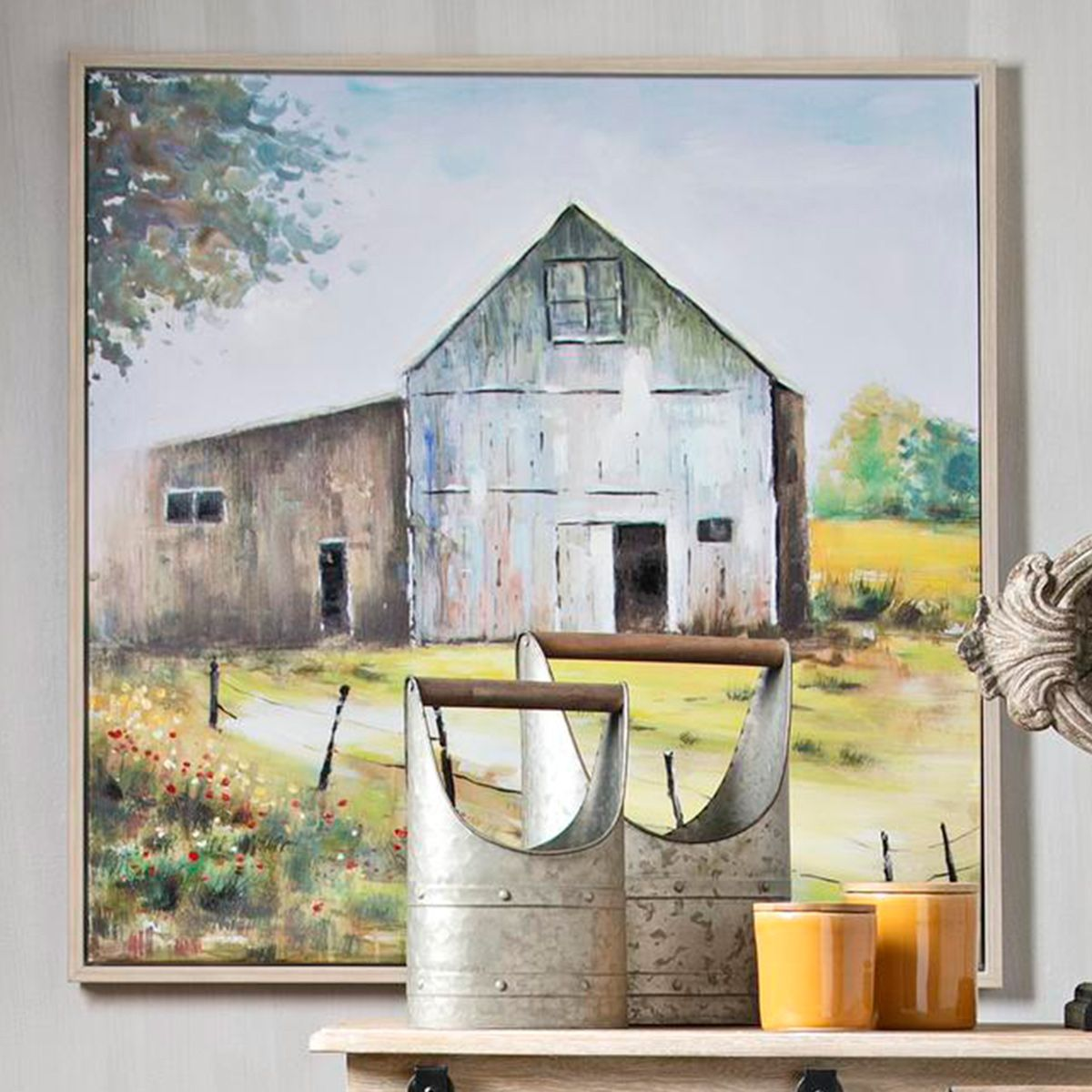 Ancient Barn Framed Canvas