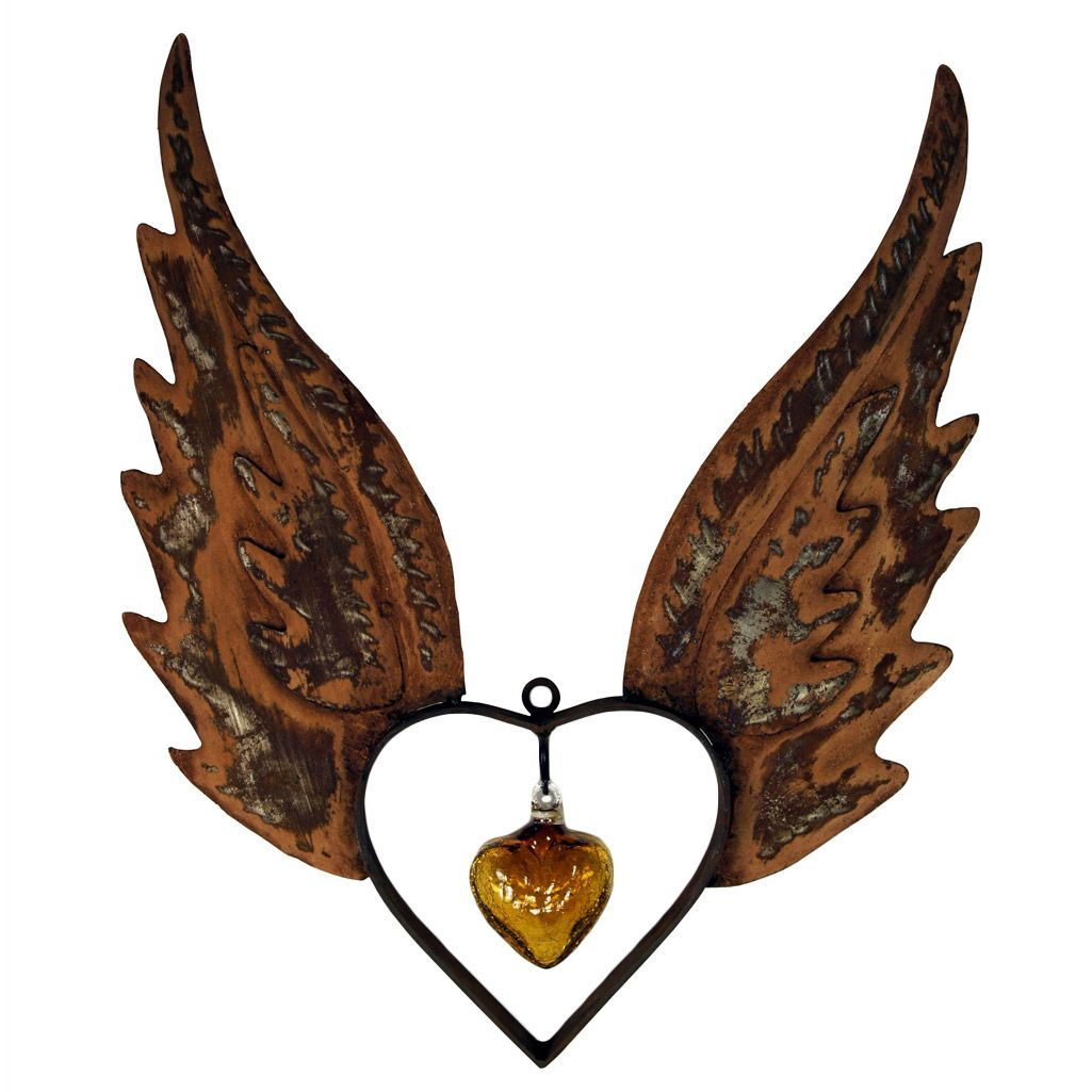 Angel Wings Up Heart with Amber Glass Heart