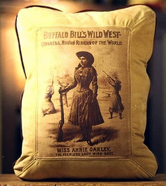 Annie Oakley Leather Pillow