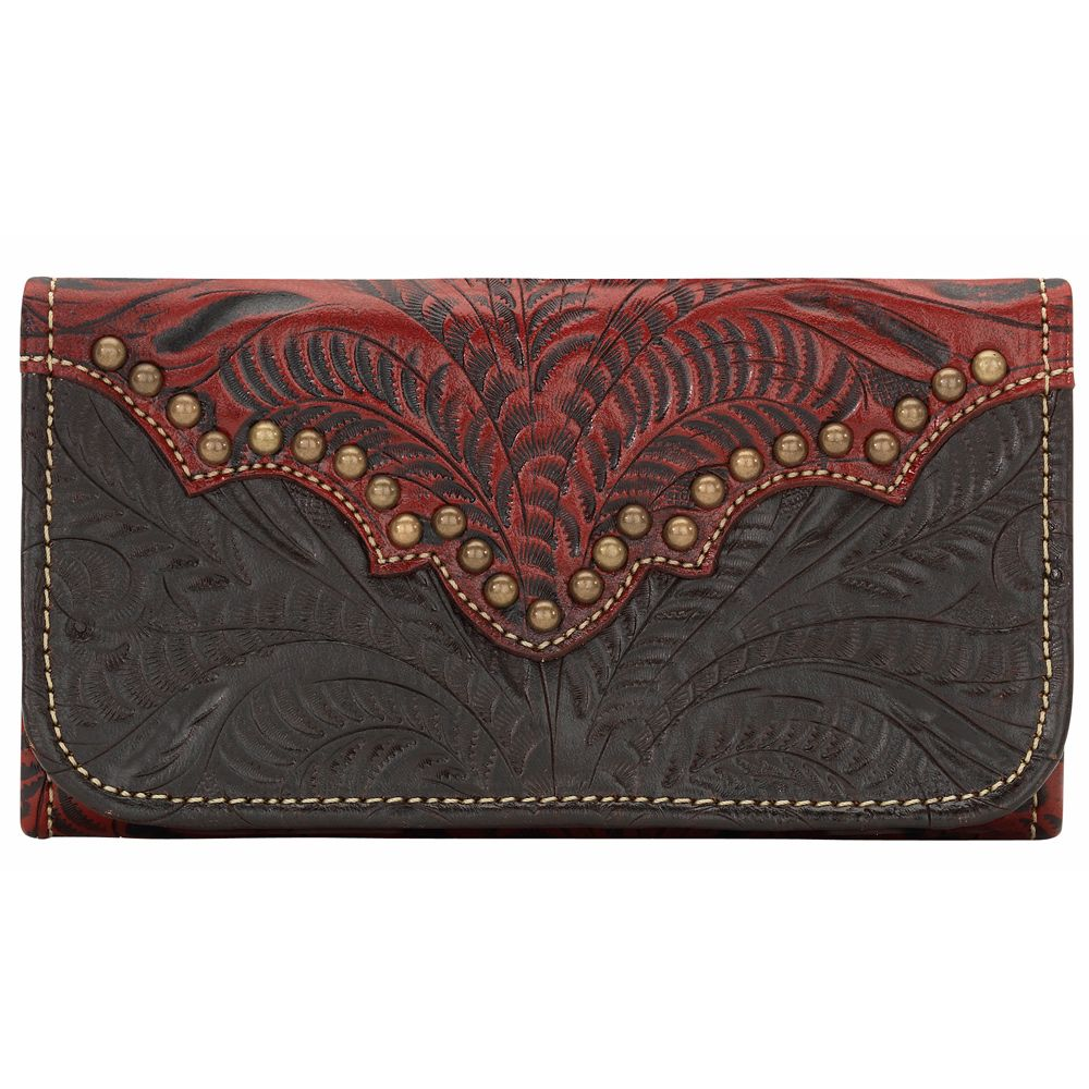 Annie's Secret Ladies Tri-Fold Wallet - Distressed Crimson