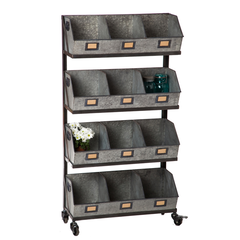 Antique Strorage Rack Bins on Wheels