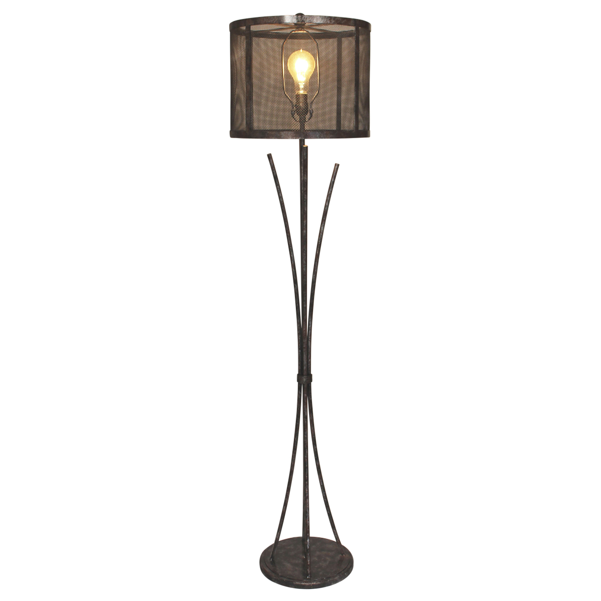 Antiqued Iron Bundle Floor Lamp with Metal Mesh Shade
