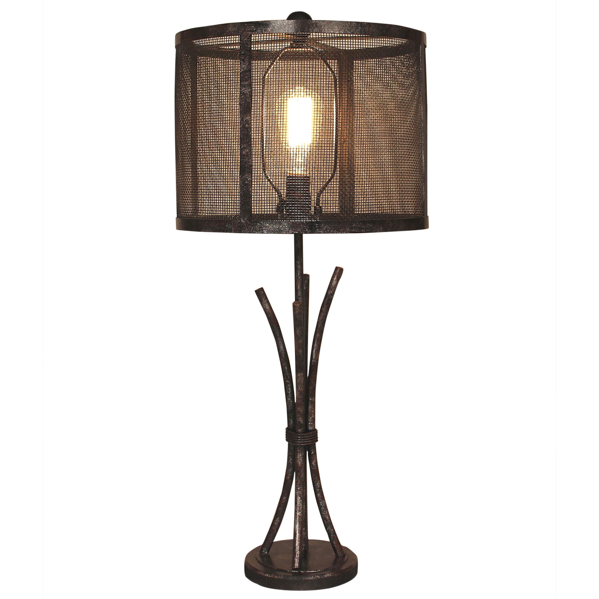 Antiqued Iron Bundle Table Lamp with Metal Mesh Shade