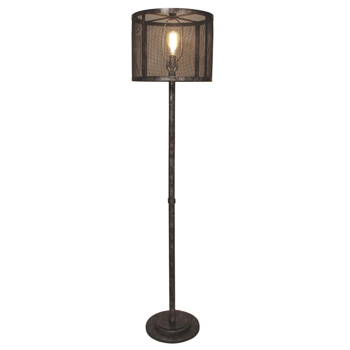 Antiqued Wire Wrapped Floor Lamp with Metal Mesh Shade