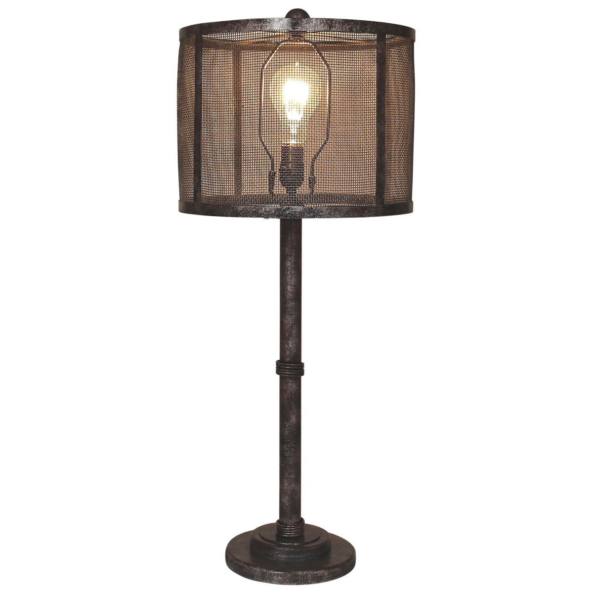 Antiqued Wire Wrapped Table Lamp with Metal Mesh Shade