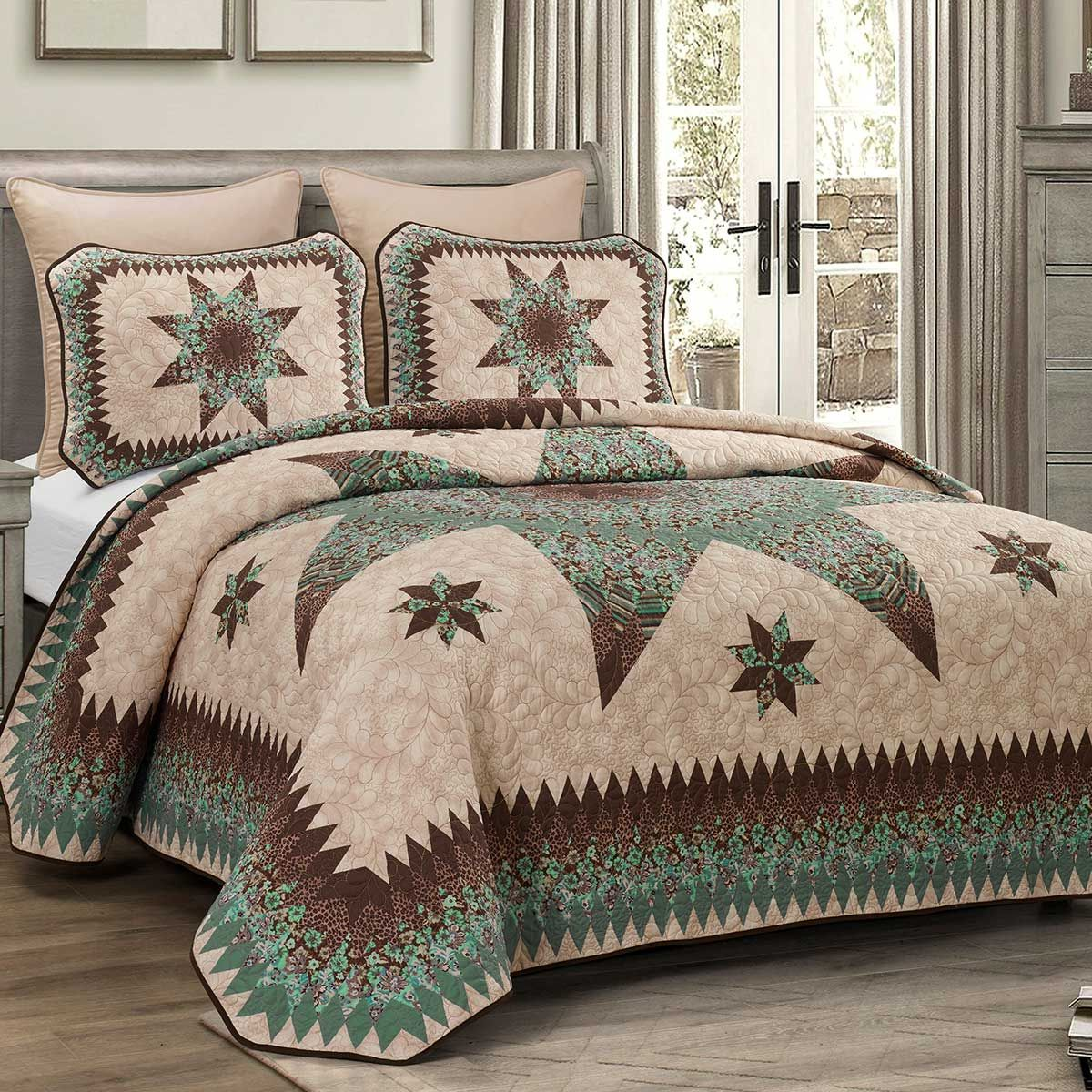 Aqua Star Quilt Set - King - OUT OF STOCK UNTIL 11/23/2020