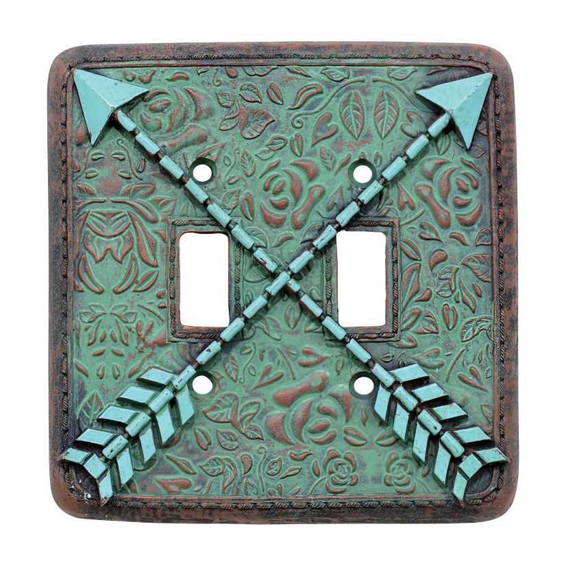 Arrow Turquoise Flowers Double Switch Plate Cover - CLEARANCE