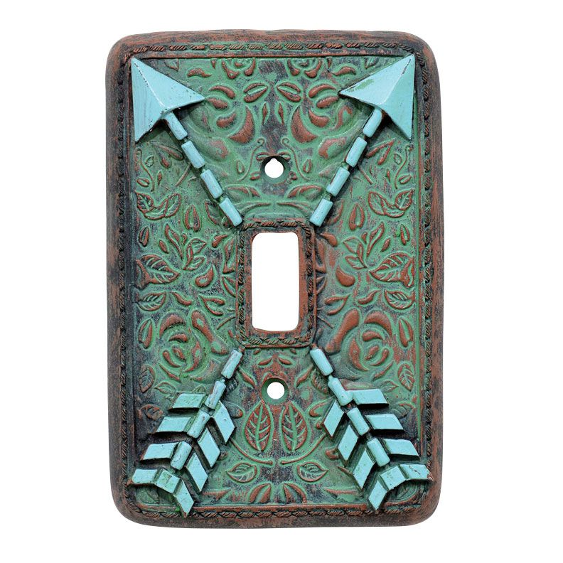 Arrow Turquoise Flowers Single Switch Plate Cover - CLEARANCE