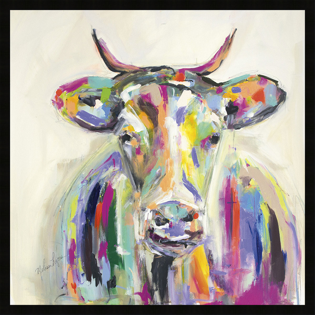 Artsy Cow Framed Canvas