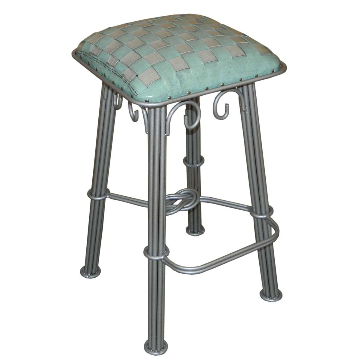 Ash Turquoise Braided Leather Barstool - Silver Iron