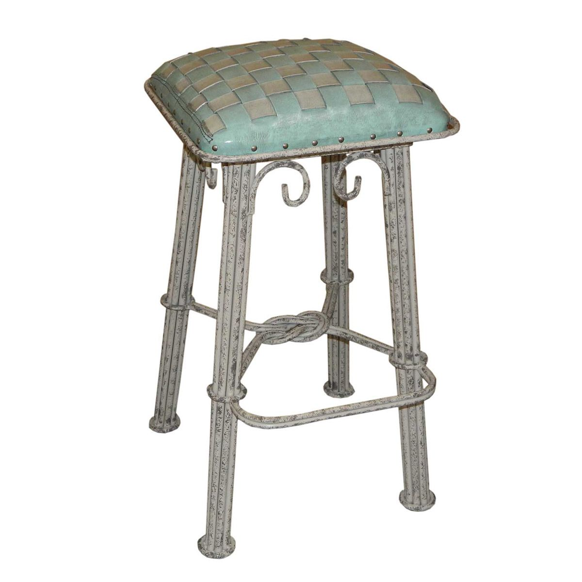 Ash Turquoise Braided Leather Counter Stool - Ash Gray Iron