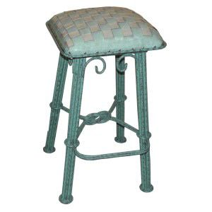 Ash Turquoise Braided Leather Counter Stool - Turquoise Gray Iron