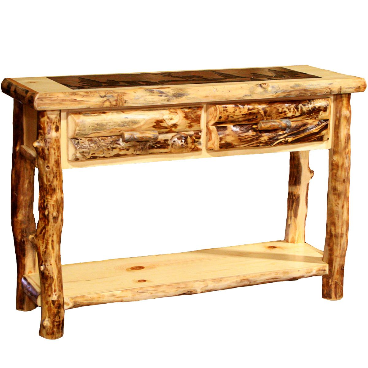 Aspen Sofa Table with Slate Top - Horse & Trees