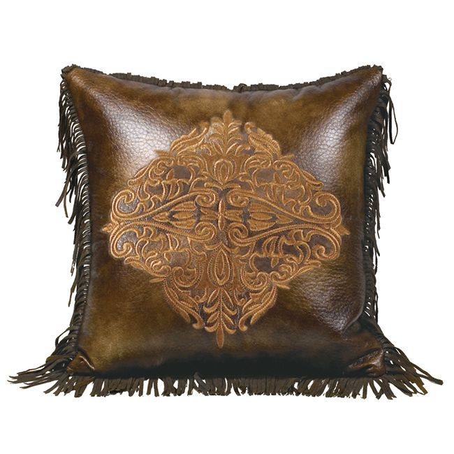 Austin Embroidered Faux Leather Pillow