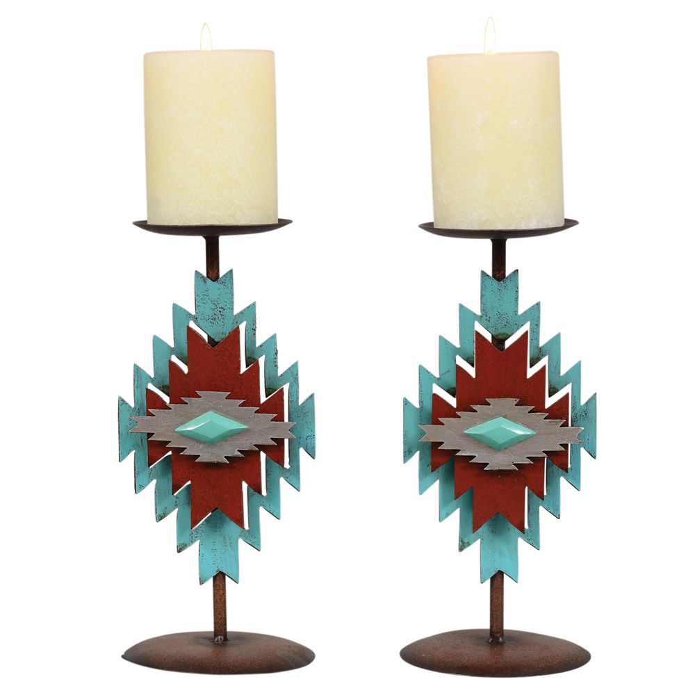 Aztec Diamond Turquoise Candle Holder