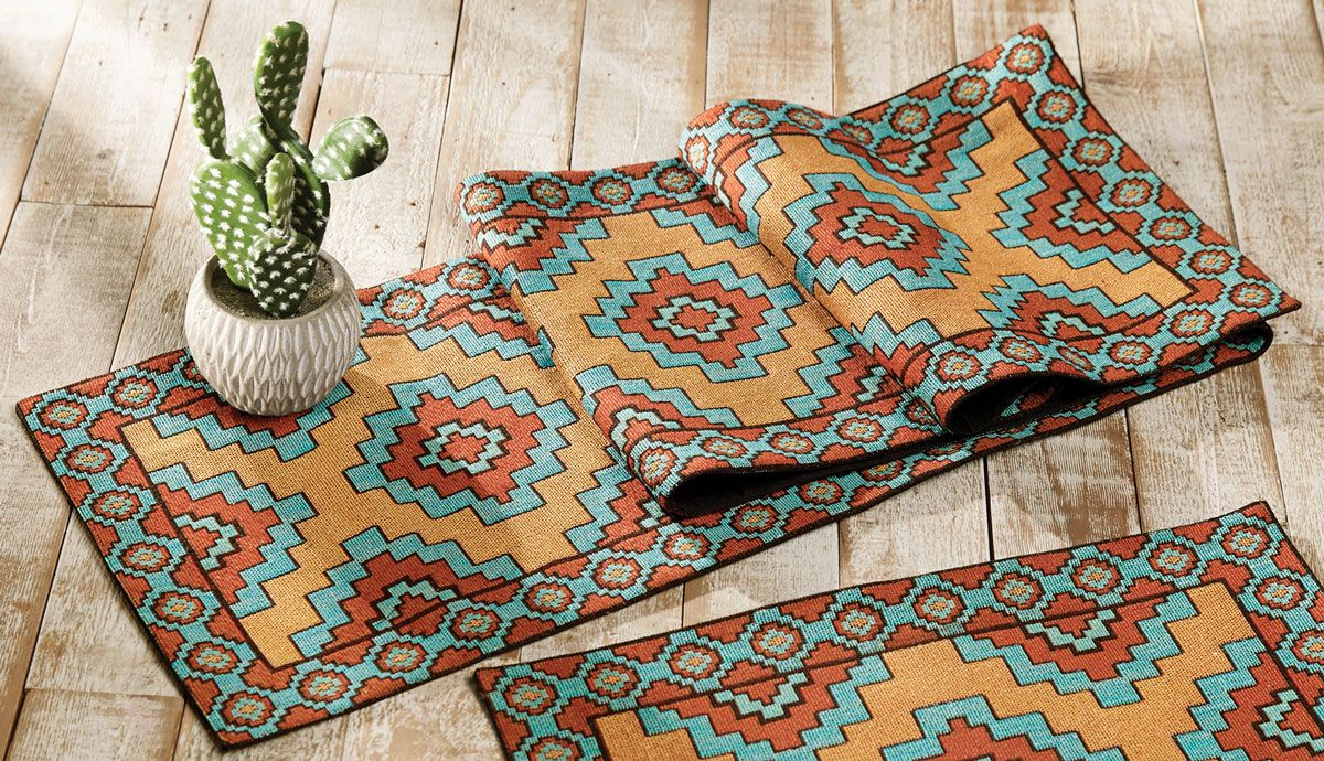 Aztec Turquoise Table Runner - CLEARANCE