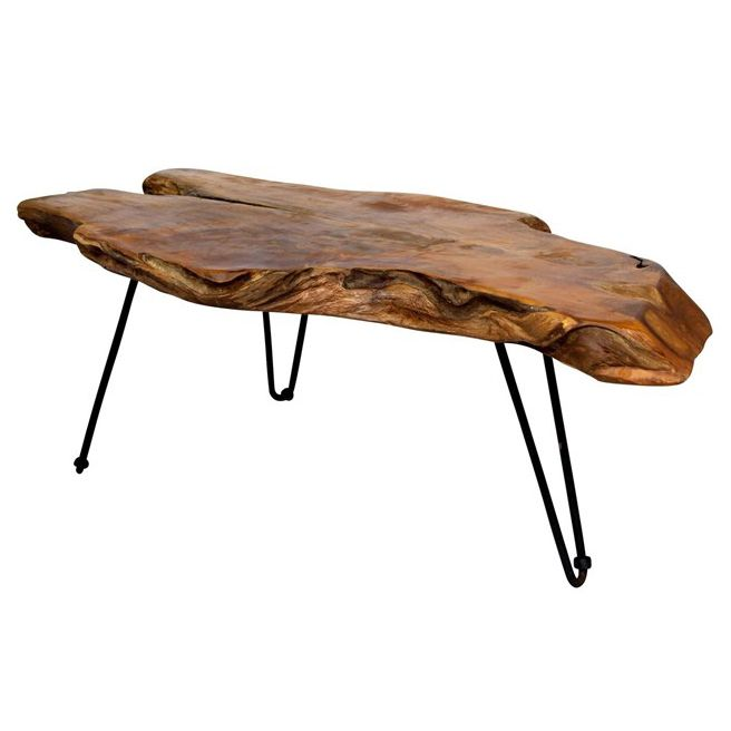 Rustic Tables: Badang Carving Natural Teak Coffee Table