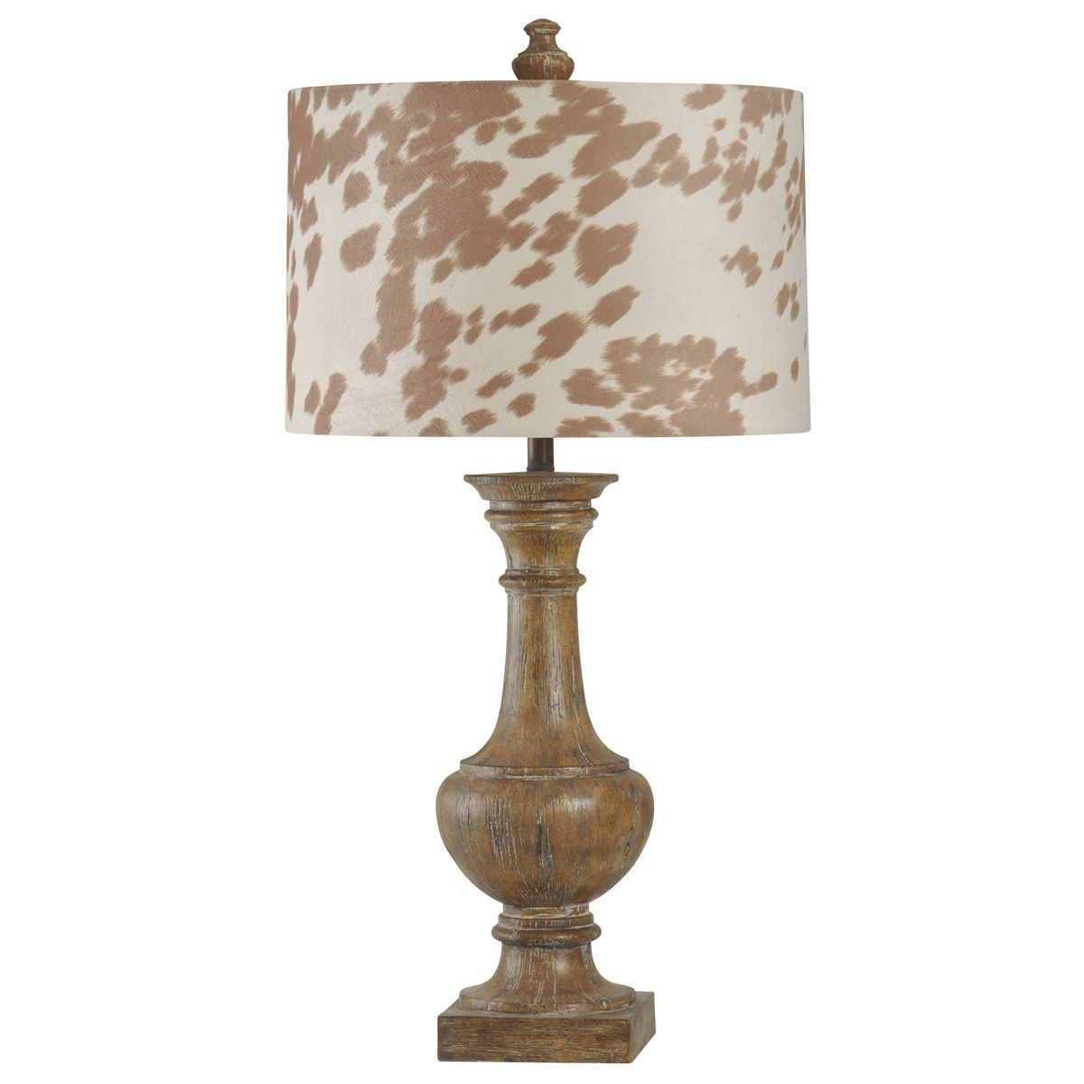 Baluster Table Lamp with Cowhide Print Shade