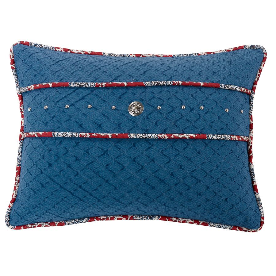 Bandana Blue Pillow with Concho and Stud Trim