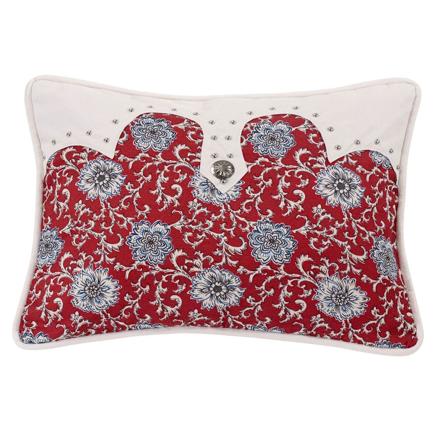 Bandana Floral Oblong Pillow with Concho