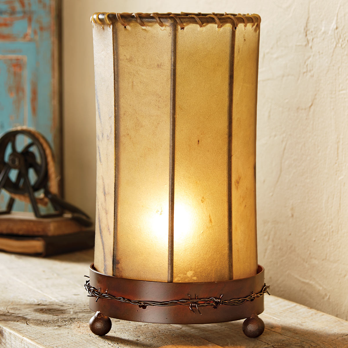 Barbed Wire Iron Accent Lamp with Rawhide Shade