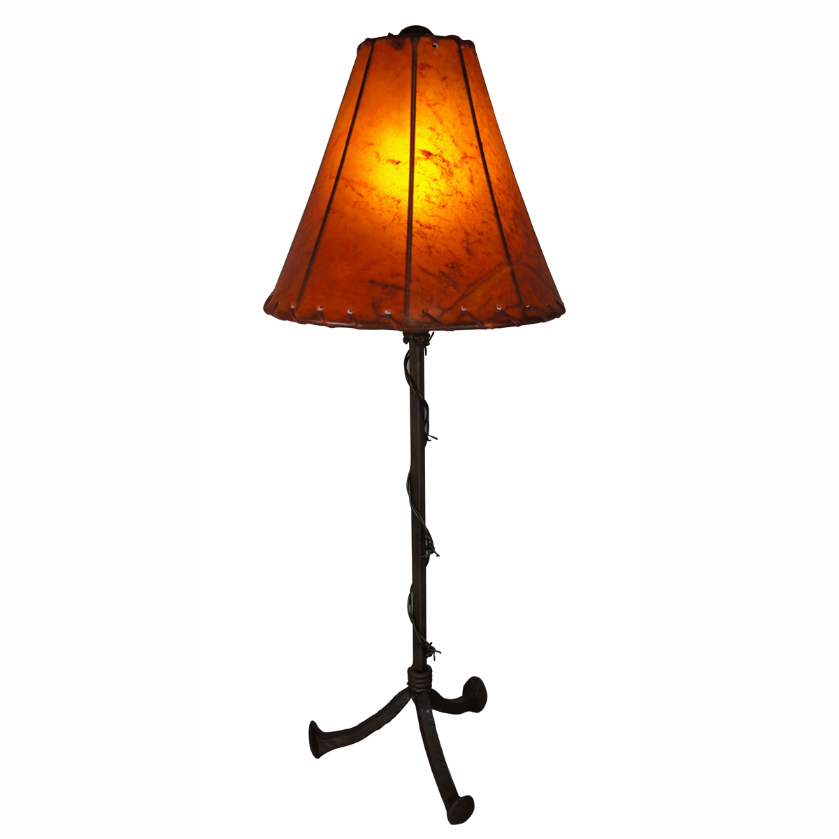 Barbed Wire Table Lamp with Sun Kissed Amber Rawhide Shade