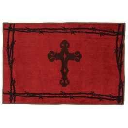 Barbwire Cross Red Rug