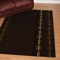 Barbwire on Brown Rug - 2 x 7