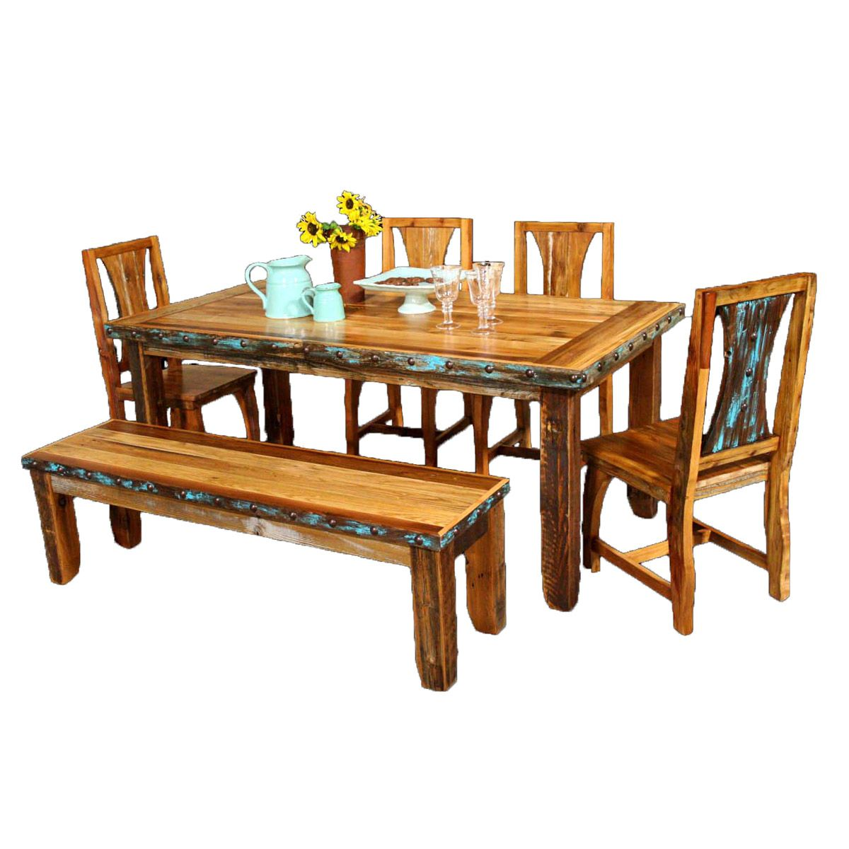 Barnwood Azul Table & Chairs with Bench and Nailheads - 6 pcs
