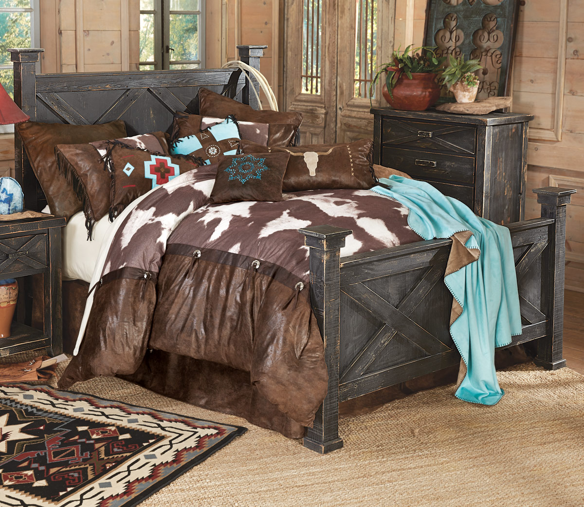 Barnwood Double X Bed - Cal King