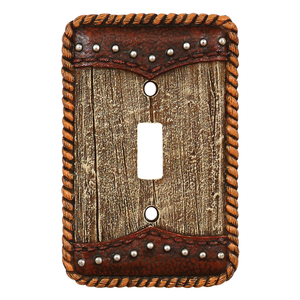 Barnwood & Leather Single Switch Plate