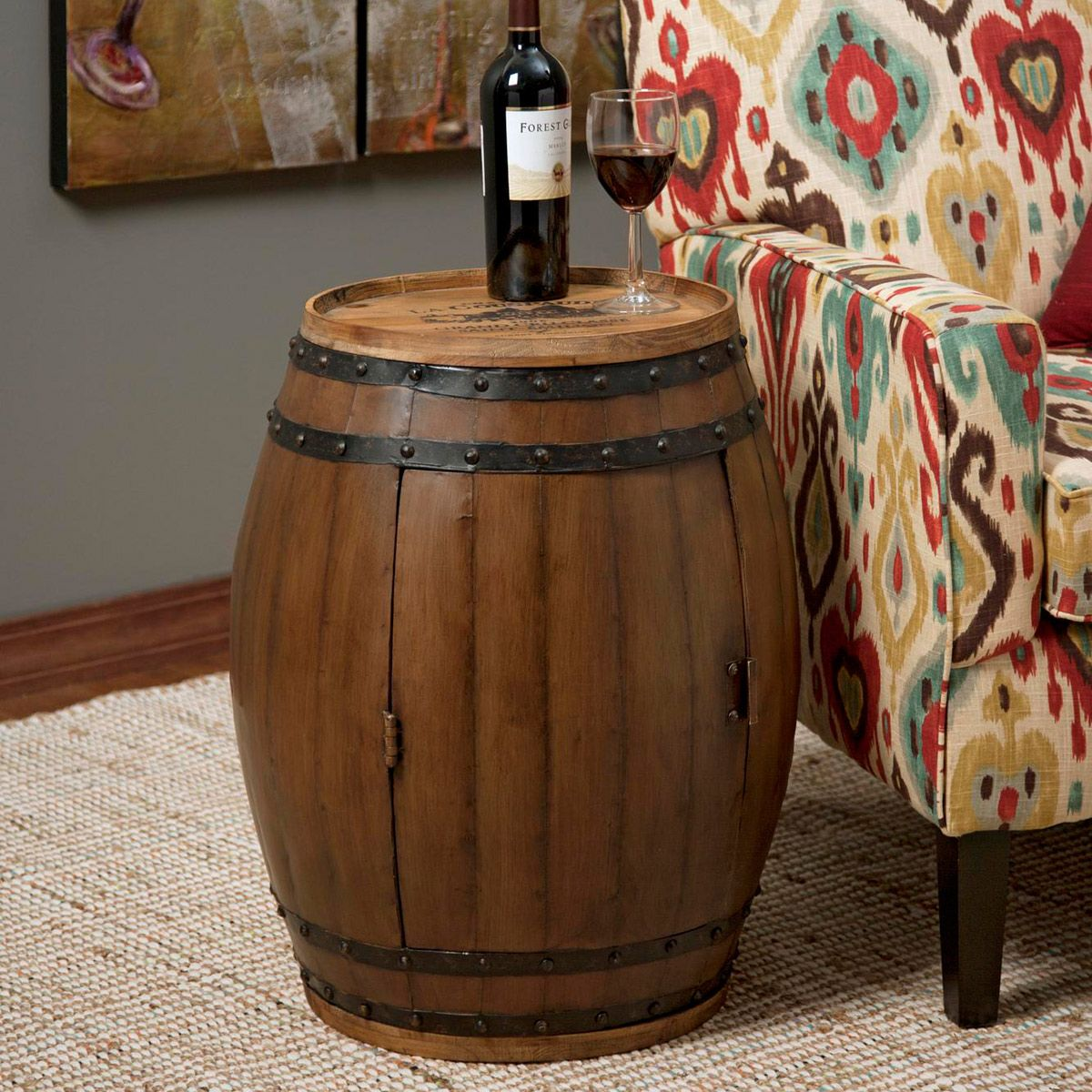 Barrel Table and Wine Rack